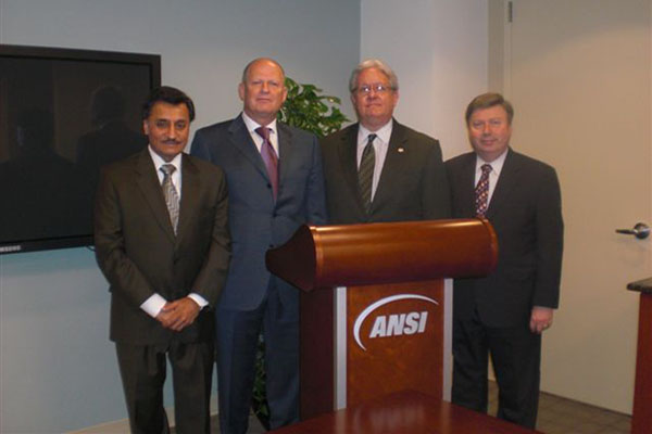 ANSI President and CEO S. Joe Bhatia; Russia Federal Agency on Technical Regulatinh and Metrology Head Grigory Elkin; ANSI Vice President, Accreditation Services, Lane Hallenbeck; ANSI Vice President, International Policy, Gary Kushnier